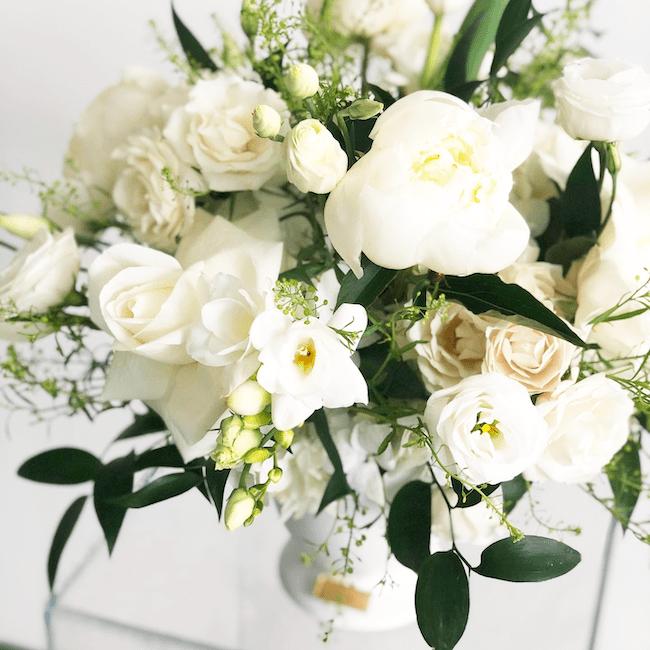 white floral arrangement aura design